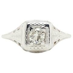 Art Deco White Gold Filigree Vintage Round Diamond Solitaire Engagement Ring