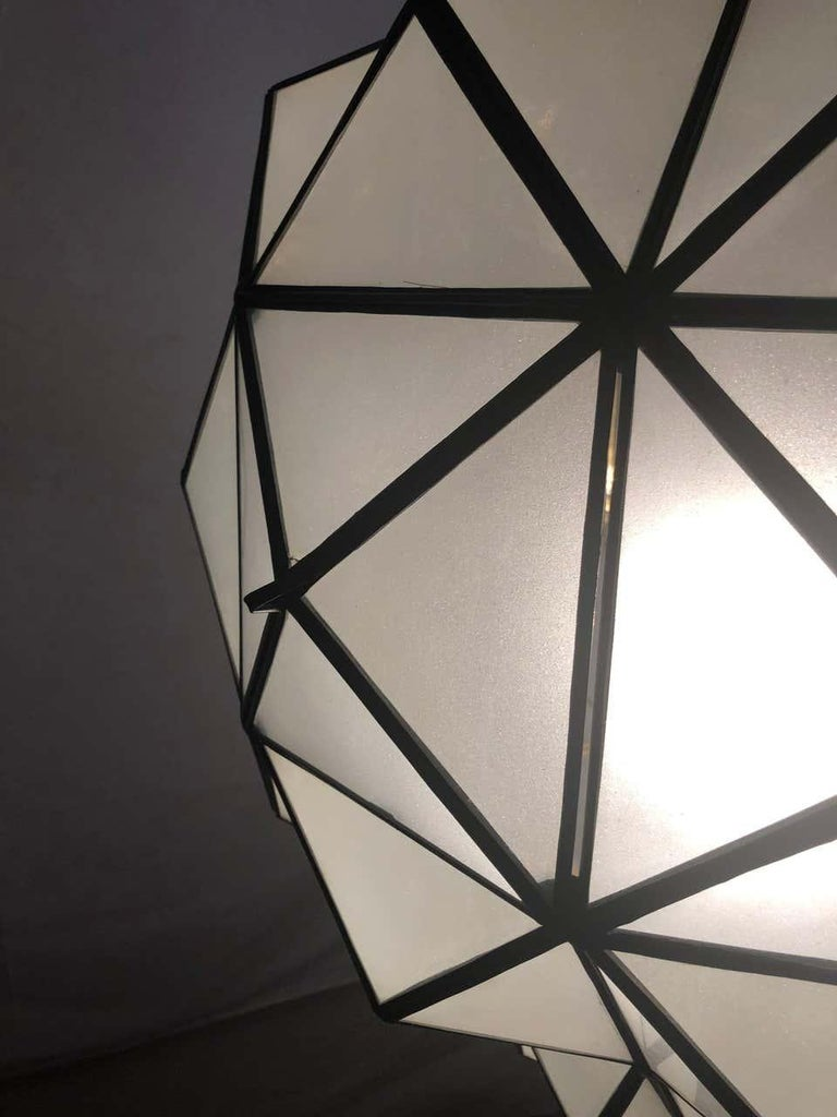 Art Deco White Milk Chandelier, Pendant or Lantern in Dome Shape For Sale 6