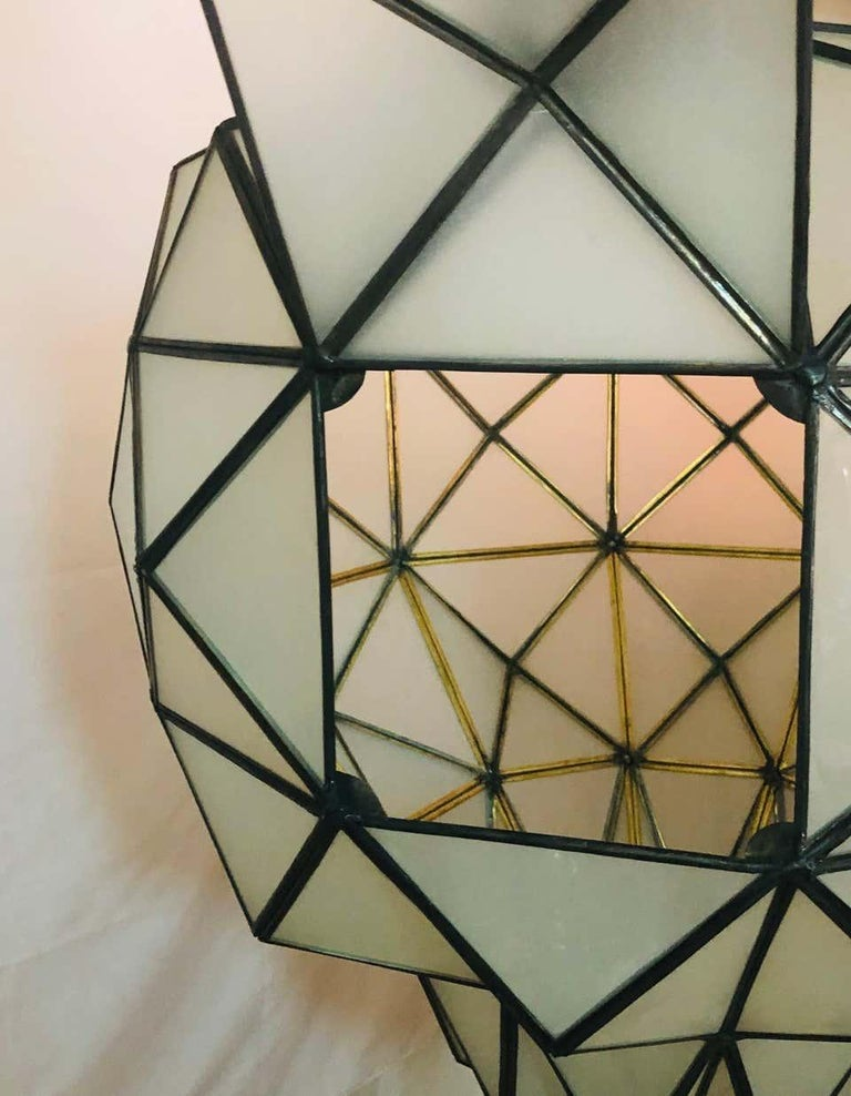 Art Deco White Milk Chandelier, Pendant or Lantern in Dome Shape For Sale 7