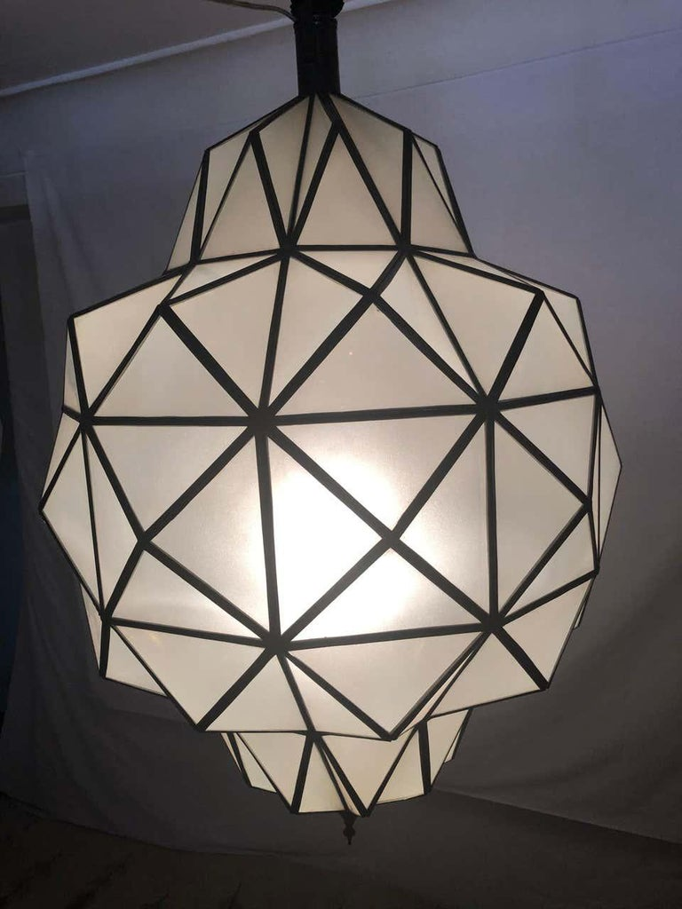 Art Deco White Milk Chandelier, Pendant or Lantern in Dome Shape For Sale 9