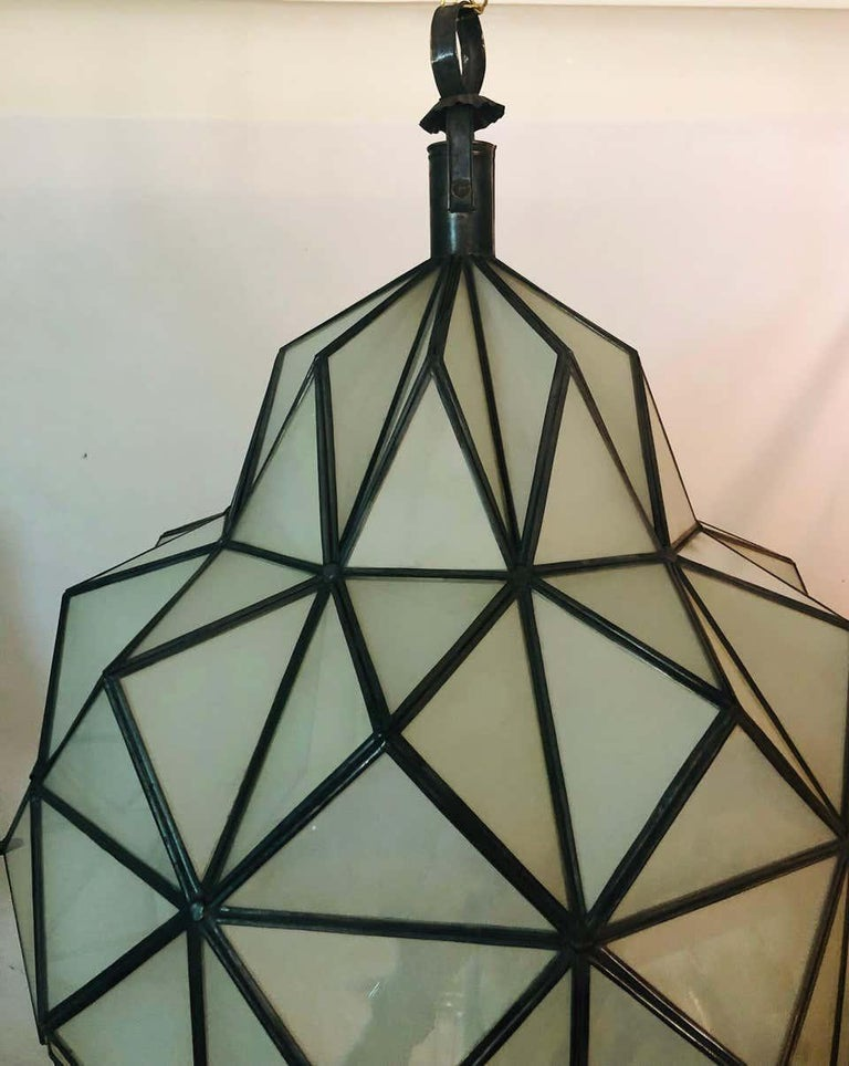 Art Deco White Milk Chandelier, Pendant or Lantern in Dome Shape For Sale 10