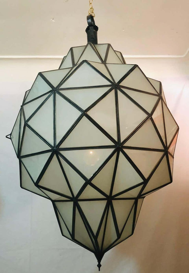 Art Deco White Milk Chandelier, Pendant or Lantern in Dome Shape For Sale 11