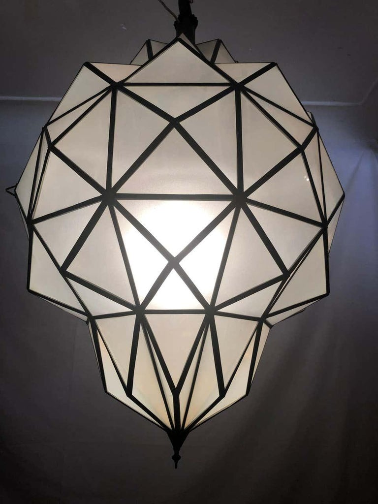 Art Deco White Milk Chandelier, Pendant or Lantern in Dome Shape For Sale 12