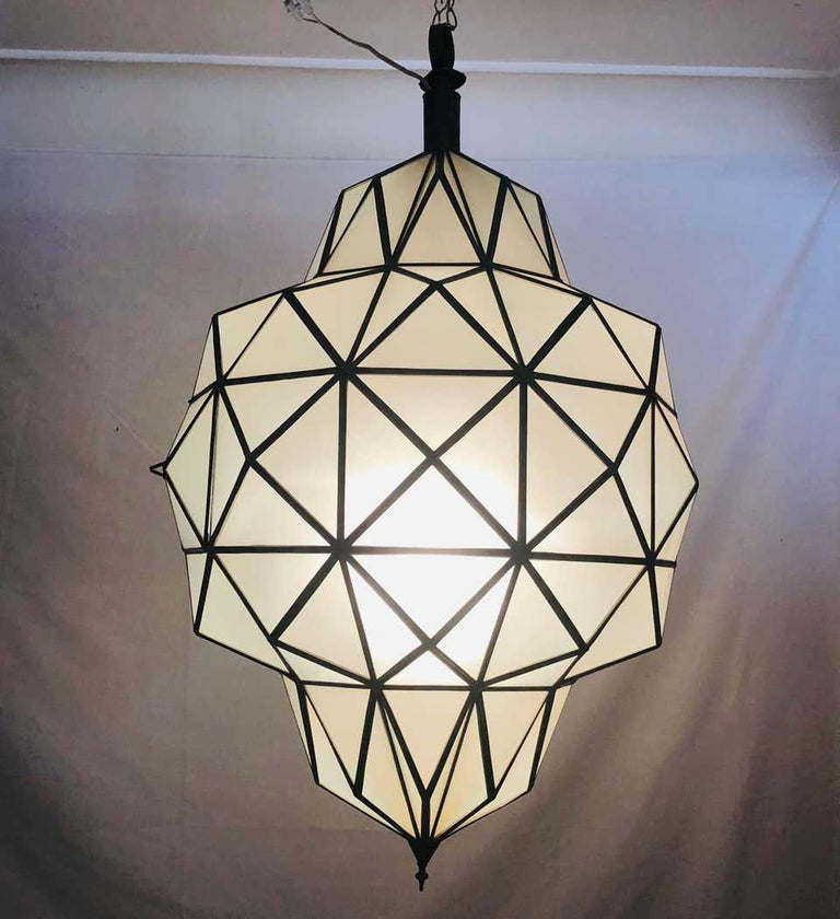 Unknown Art Deco White Milk Chandelier, Pendant or Lantern in Dome Shape For Sale