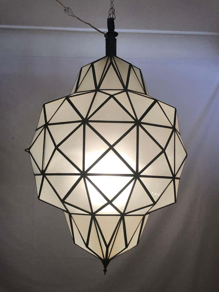 Art Deco White Milk Chandelier, Pendant or Lantern in Dome Shape In Good Condition For Sale In Plainview, NY