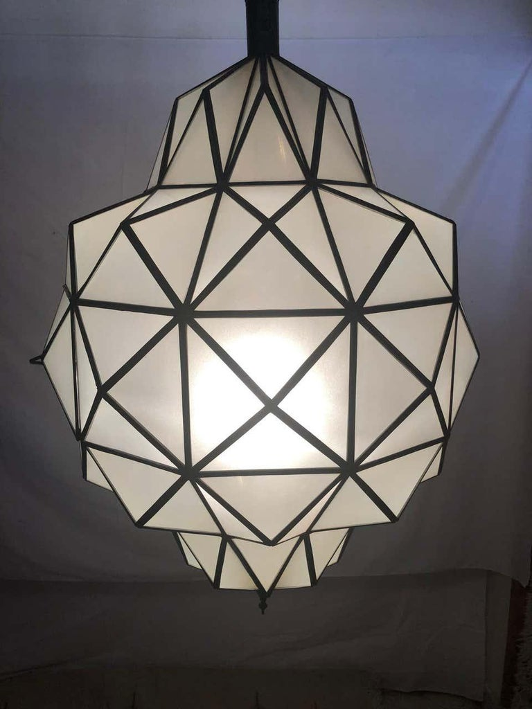 Late 20th Century Art Deco White Milk Chandelier, Pendant or Lantern in Dome Shape For Sale