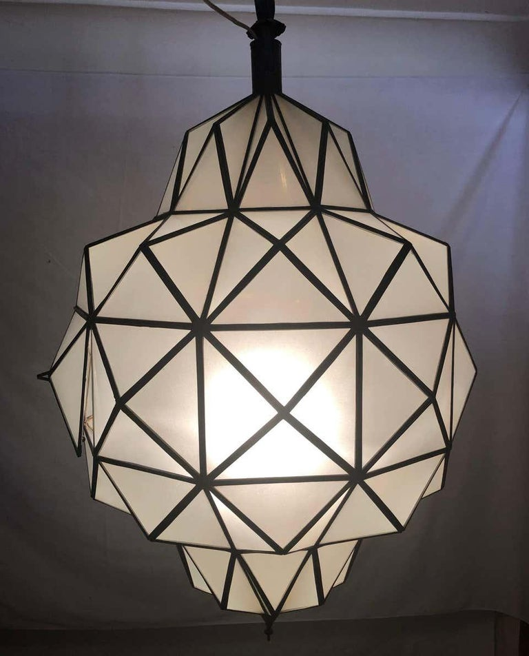 Art Deco White Milk Chandelier, Pendant or Lantern in Dome Shape For Sale 1