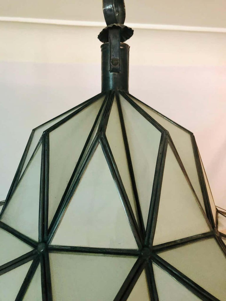 Art Deco White Milk Chandelier, Pendant or Lantern in Dome Shape For Sale 2