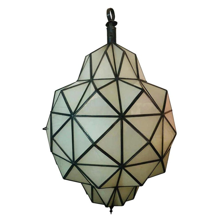 Art Deco White Milk Chandelier, Pendant or Lantern in Dome Shape For Sale
