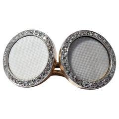 Art Deco White Onyx Platinum 18 Karat Gold Rose Cut Diamonds Cufflinks