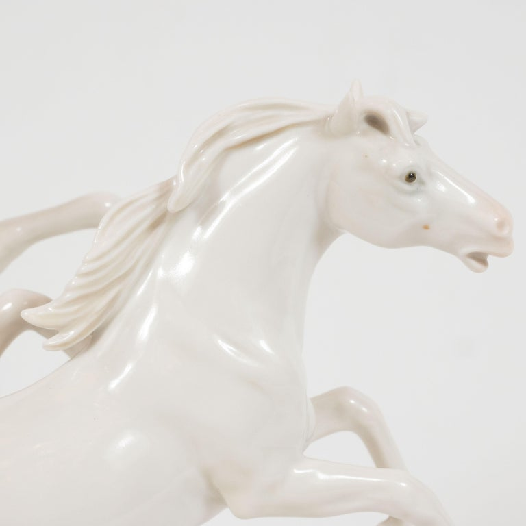 German Art Deco White Porcelain Galloping Horse Sculptures Signed by Karl Ens For Sale