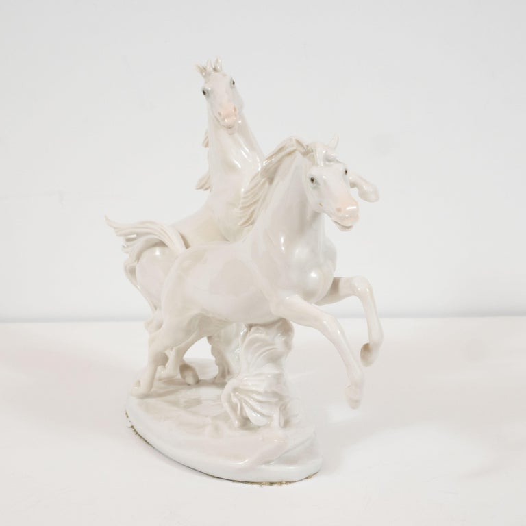 Art Deco White Porcelain Galloping Horse Sculptures Signed by Karl Ens In Excellent Condition For Sale In New York, NY