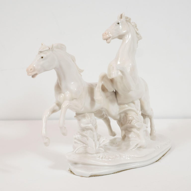 Mid-20th Century Art Deco White Porcelain Galloping Horse Sculptures Signed by Karl Ens For Sale