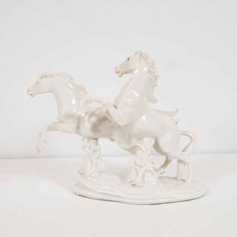 Art Deco White Porcelain Galloping Horse Sculptures Signed by Karl Ens For Sale 2