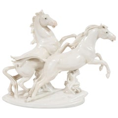 Art Deco White Porcelain Galloping Horse Sculptures Signed by Karl Ens