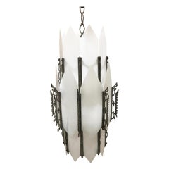 Art Deco White Slat Glass Hanging Chandelier with Geometric Details