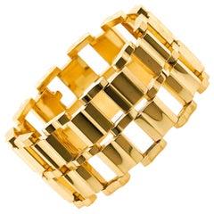 Art Deco Wide Gold Bracelet
