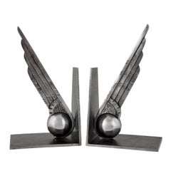 Art Deco Wing and Ball Wrought Iron Bookends Edgar Brandt, 1930