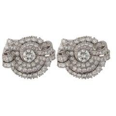 Art Deco with 2.02 Carat Center Old European Cut Diamond and Platinum Earring