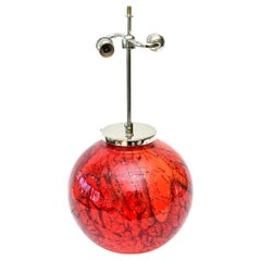 Art Deco WMF Red and Orange Glass and Chrome Sphere Lamp