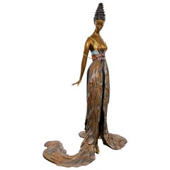 Art Deco Woman in Feather Gown Bronze Table Sculpture Signed Erte