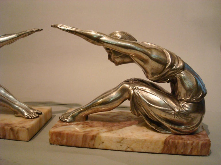 Silvered Art Deco Woman Sculpture Bookends, France, 1920s For Sale