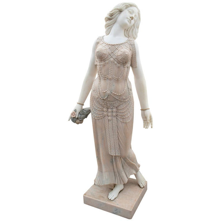 Art Deco Woman Sculpture Hand Carved in Portuguese Rosa and Carrara White Marble For Sale