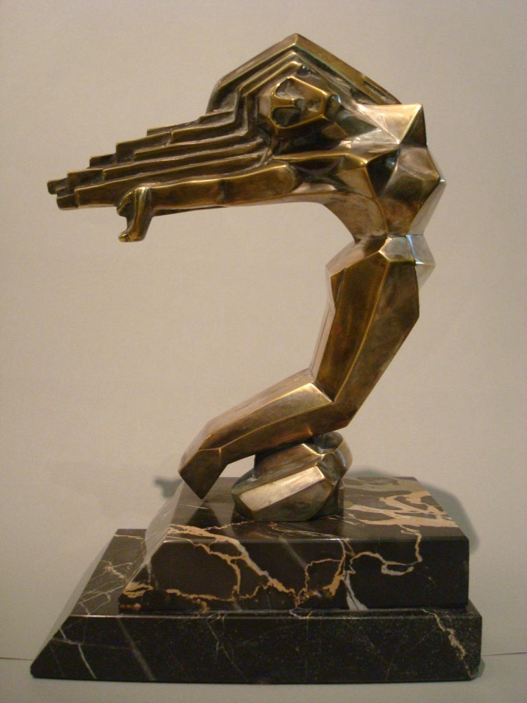 Art Deco Women Car Mascot, Hood Ornament Sculpture, France, 1930, D.I.M. Cubist In Good Condition For Sale In Buenos Aires, Olivos