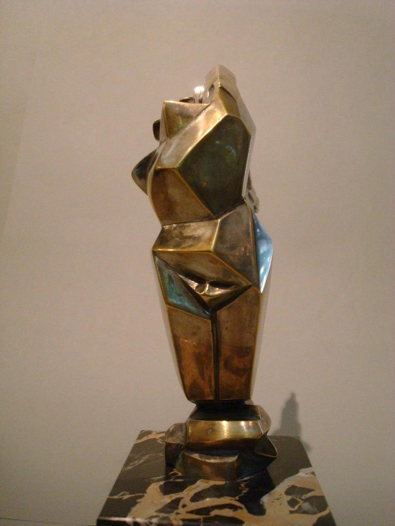 20th Century Art Deco Women Car Mascot, Hood Ornament Sculpture, France, 1930, D.I.M. Cubist For Sale