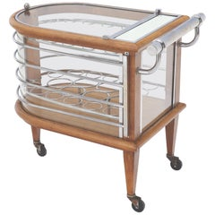 Art Deco Wood Chrome and Glass Serving Cart Bar on Wheels