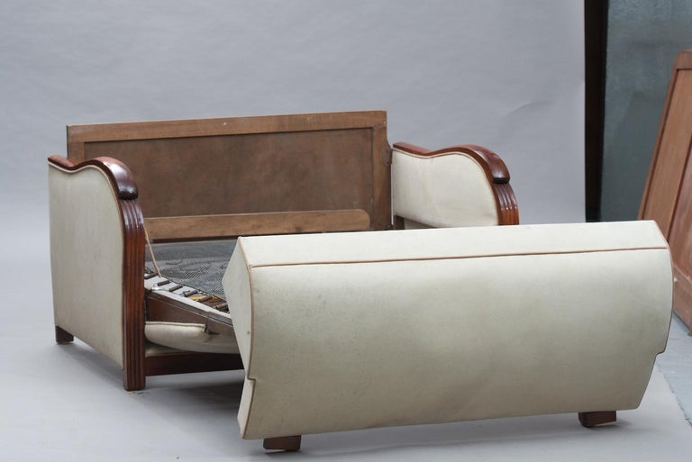 Art Deco Wood Framed French Sofa-Bed For Sale 2