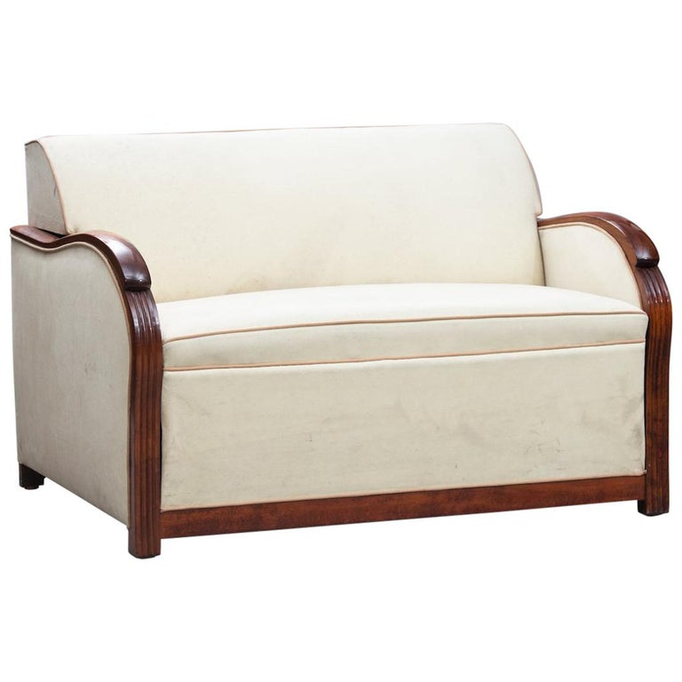 Art Deco Wood Framed French Sofa-Bed For Sale