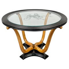 Art Deco Wood & Glass Round Coffee Side Table, Italy, 1940s