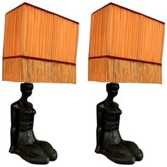Art Deco Wood Woman Sculpture Wall Sconces Orange Lampshades with Fringe, 1940s