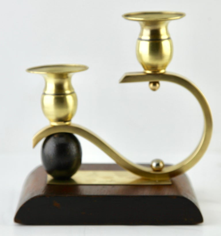 Molded Art Deco Wooden and Brass Pair of Candlesticks, 1930s For Sale
