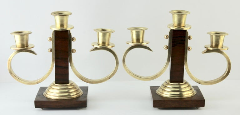 Mid-20th Century Art Deco Wooden and Brass Pair of Candlesticks, 1930s For Sale