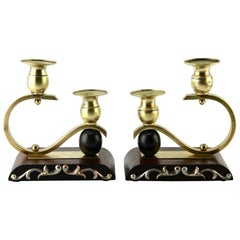 Art Deco Wooden and Brass Pair of Candlesticks, 1930s
