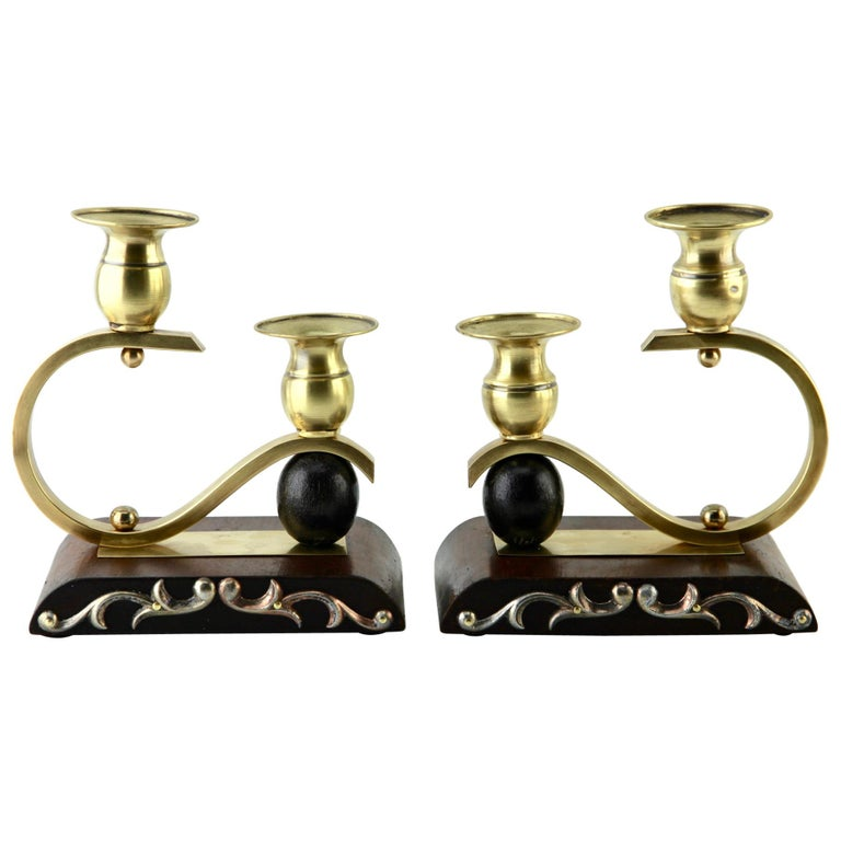 Art Deco Wooden and Brass Pair of Candlesticks, 1930s For Sale