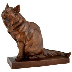 Art Deco Wooden Sculpture of a Cat Hand Carved Irenee Rochard, France, 1930