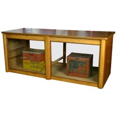 Art Deco Wood and Glass Shop Counter, Shop Cabinet, Vitrine, 1940 -1950