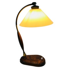Art Deco Wooden Table Lamp, Germany, 1940s