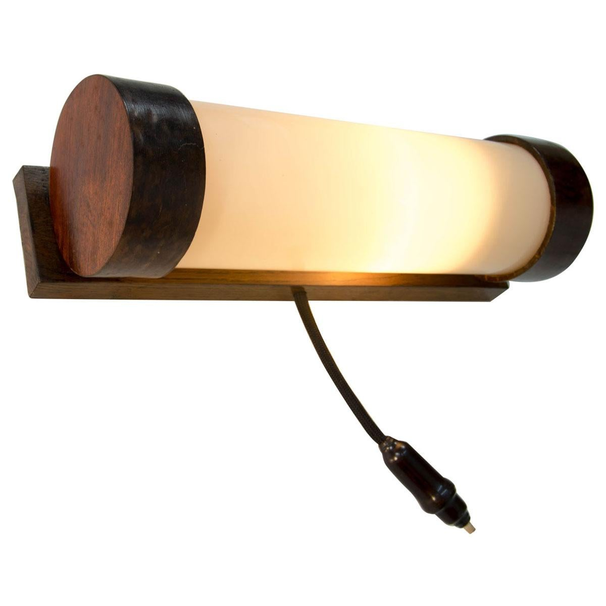 Art Deco Wooden Wall Lamp/Scone, 1930s