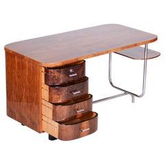 Art Deco Writing Desk H-180 Designed by Jindrich Halabala, Walnut Chrome, 1930s