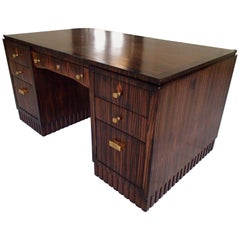 Art Deco Writing Desk Oak on Ebene De Macassar 7 Drawers