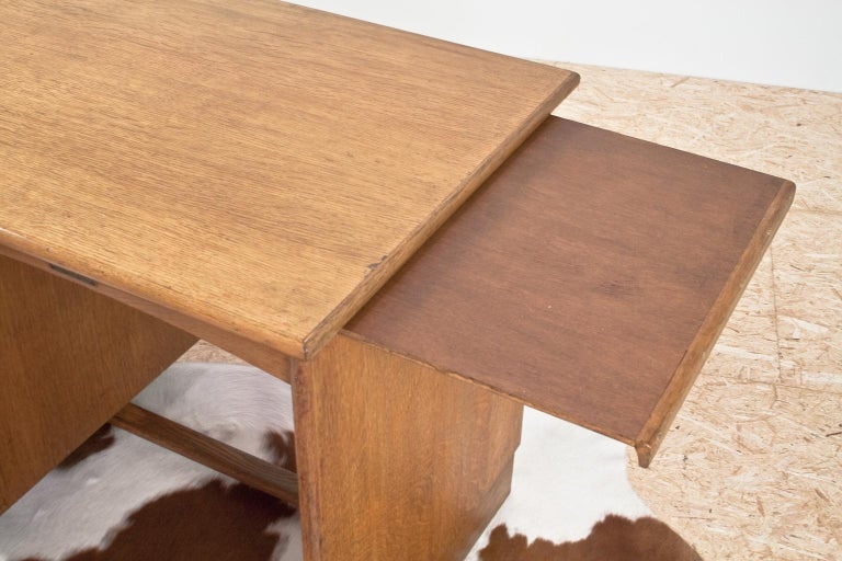 Art Deco Writing Table and Petit Desk in Solid Oak, Dutch Modernist, 1930s For Sale 5