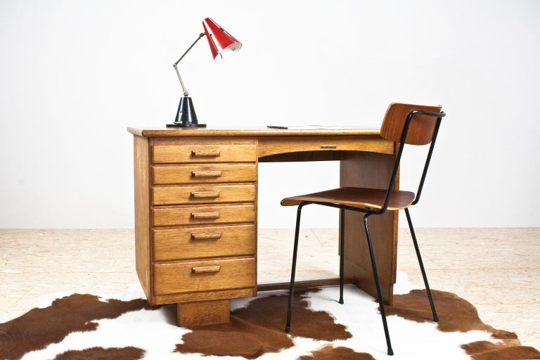 Stained Art Deco Writing Table and Petit Desk in Solid Oak, Dutch Modernist, 1930s For Sale