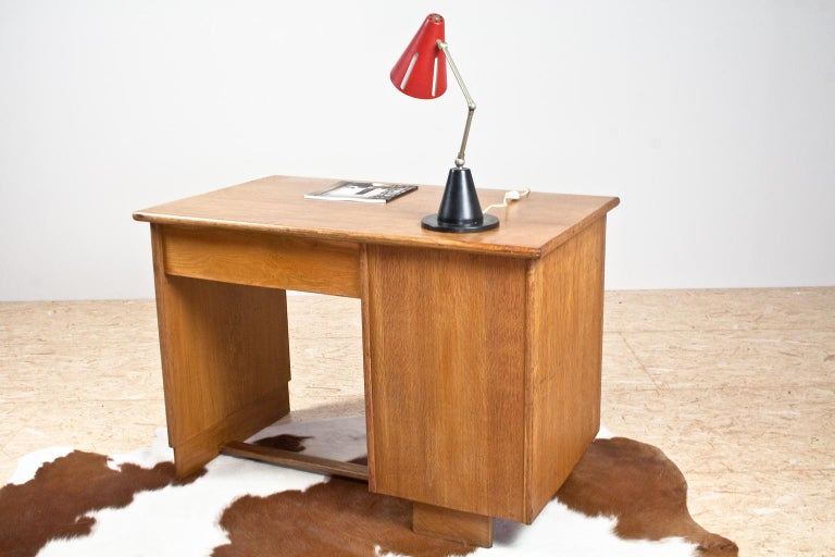 Mid-20th Century Art Deco Writing Table and Petit Desk in Solid Oak, Dutch Modernist, 1930s For Sale