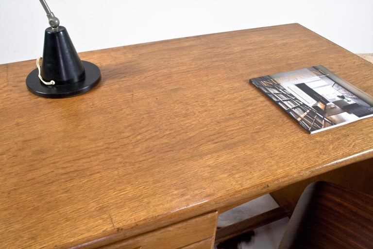 Art Deco Writing Table and Petit Desk in Solid Oak, Dutch Modernist, 1930s For Sale 1