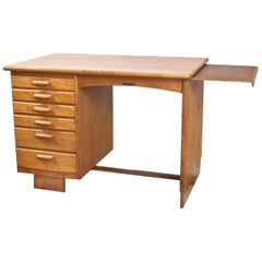 Art Deco Writing Table and Petit Desk in Solid Oak, Dutch Modernist, 1930s