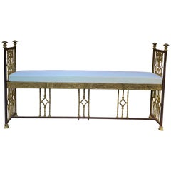 Art Deco Wrought Iron and Cast Bronze Hall Bench